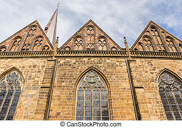 Facade of the church of our lady in Bremen, Germany