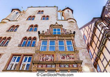 Facade of the historic Tempelhaus building in Hildesheim