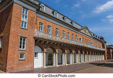Facade of the historical Marstall building in Aurich