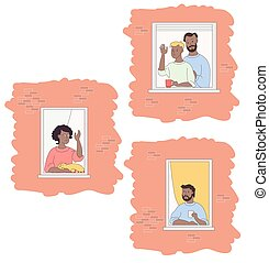 Facade of the house and open windows with ethnic neighbors. Woman in a pink sweater with a red cat. A man with a beard is drinking coffee. Two men are an unconventional family. Friendship, home stay, quarantine concept. Stay home. Vector illustration.