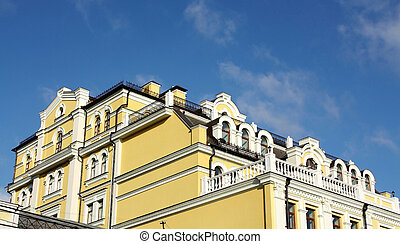 Facade of the house with a turrets
