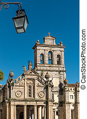 Facade of the Igreja da Graca church of Evora. Alentejo ...