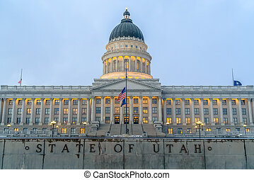 Facade of the majestic Utah State Capital Building