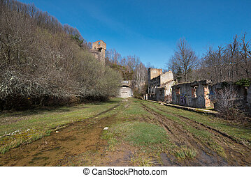 Facade of the old abandoned railway Tunnel La Engana, between Burgos province and Cantabria, Spain.