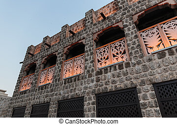 facade of the old Arab house, twilight