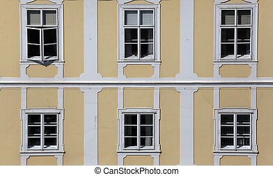 Facade of the old city building in city center of Zagreb, Croatia