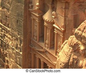 Facade of Treasury in Petra, Jordan. View from nearest...