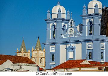 Facade of two churchs in Angra do Heroismo, Island of ...