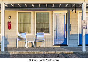 facade of typical american Motel at the beach