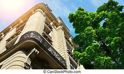 Facade of typical building in Paris
