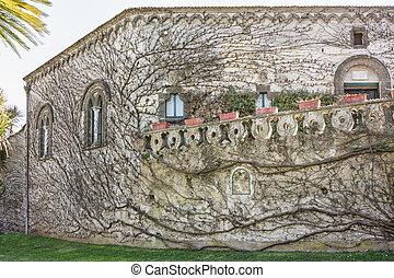 Facade of Villa Cimbrone located in the center of Ravello on the Amalfi Coast Salerno Italy