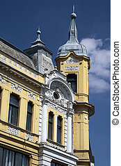 Facade of Wilhelminian style house in the town of Veszprem...