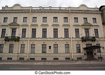 Facade with green balconies in St-Petersburg, Russia...