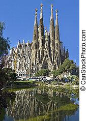 Facade Sagrada Familia Barcelona Spain, belongs to the work of Gaudí