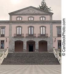 Facade Spanish colonial house