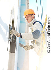 facade stopping and surfacer works - facade thermal...