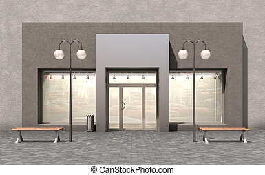 facade store; 3d illustration