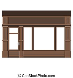facade., windows., shopfront, 木, vector., ブランク, 白, 店