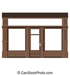 facade., windows., shopfront, 木, vector., ブランク, 白, 店