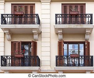 facade with balconies