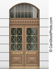 Classic facade with wooden door in a classic style. Vector graphics
