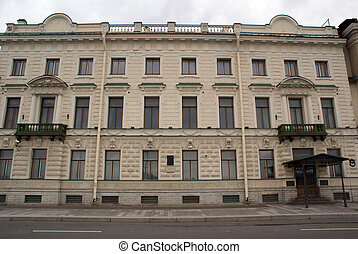 Facade with green balconies in St-Petersburg, Russia...