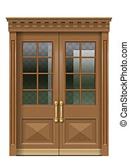 Facade with old wooden entrance door