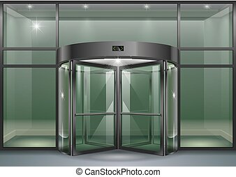 Facade with revolving doors