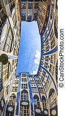 Facades of buildings in Hackescher Markt in Berlin, Germany