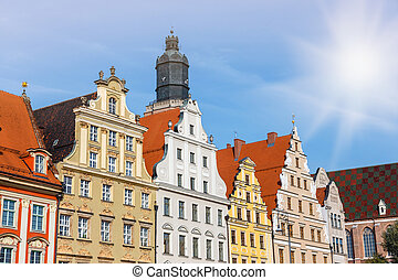 facades of historic buildings on the main square in Wroclaw, Poland