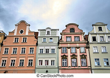 Facades of historic tenement houses on the market square