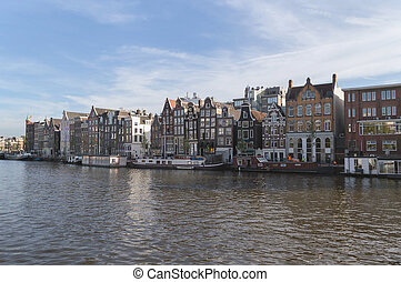 facades of houses and Amsterdam