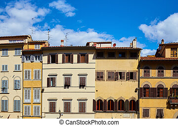 Facades of old houses in Florence