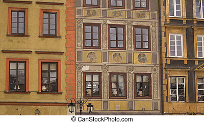 Facades of Warsaw Old Town buildings