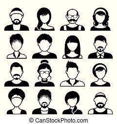 facce, maschio, avatar, femmina, icone