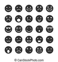 facce, set, emozioni, smiley, icone