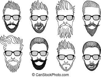 facce, vettore, hipster, barba