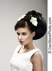 faccia, di, bello, brunetta, sposa, moda, model., elegante, acconciatura, con, primaverile, fiori