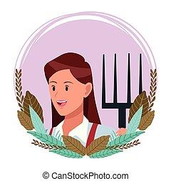 faccia, donna, carattere, cartone animato, avatar
