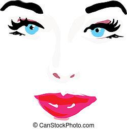 faccia, donna, illustrazione, vettore