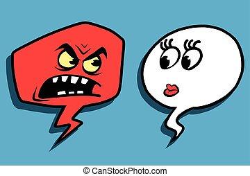 faccia donna, rabbia, comico, bolla, uomo