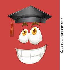 faccia felice, con, berretto laurea