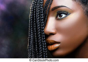faccia, femmina africana, bellezza, trecce