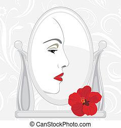 faccia, femmina, specchio