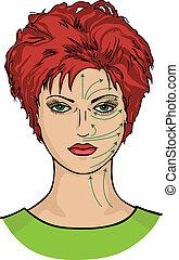 faccia, linee, sheme, massaggio, womans