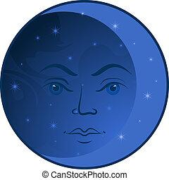 faccia, luna