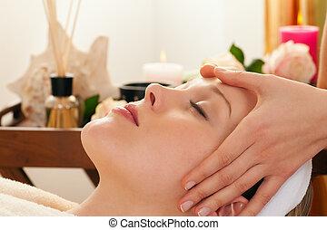 faccia, massaggio, con, terme, fondo