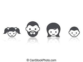 faccia, membri famiglia, icone