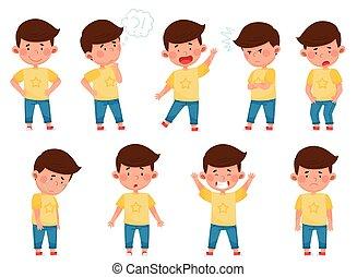 faccia, poco, espressione, pensieroso, set, vettore, standing, sorriso, ragazzo, suo