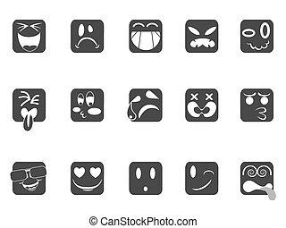 faccia, quadrato, smiley, icone